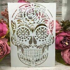 Sugar Skull  Reusable A4 Stencil Cards Durable Furniture Wall ART Craft DIY