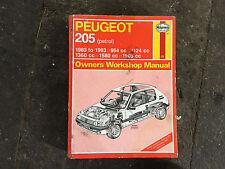 PEUGEOT 205  HAYNES MANUAL 83 - 93
