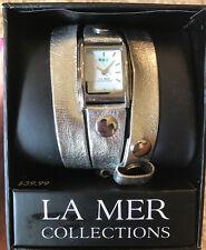 LA MER Women's Silver Leather Wrap Bracelet Watch NEW