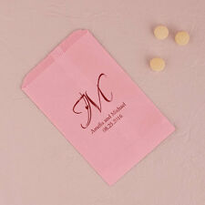100 Personalized Heart Monogram Candy Buffet Wedding Cake Flat Favor Bags Q17097
