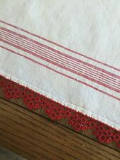 2 Vintage Linen Towels with Red border and red tatting