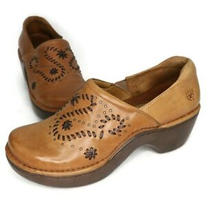 Ariat WOMEN'S Brown Leather Woven Slip On Floral Clogs Size 8.5B US