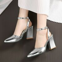 Women's Casual Ankle Strap Block High Heel Buckle Slingbacks Pointed Toe Shoes