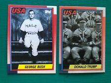 1990 Topps DONALD TRUMP & GEORGE BUSH Yale Military Presidential Baseball Cards
