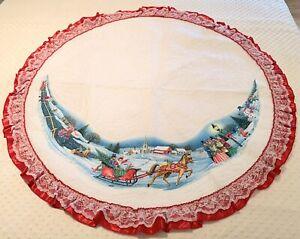 """Vintage Rennoc Christmas Tree Skirt Horse Drawn Sleigh Carolers Scene Felt 47"""""""