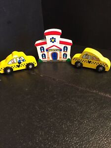 B55) Melissa and Doug Lot of 2 different Disney Wooden Taxi Cars and Hospital