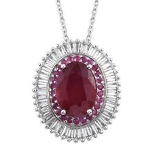 """11.25 Ct, Ruby & Topaz Pendant, 20"""" Chain, Platinum Over Sterling Silver, Topaz"""