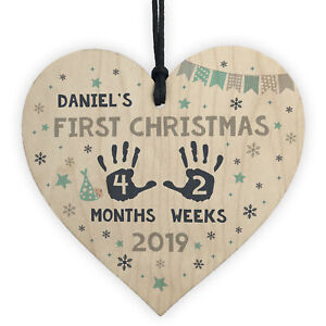 Babys First Christmas Wood Personalised 1st Christmas Bauble New Baby Xmas Gift