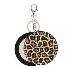 Clearance Vintage Luxury Women Girl Leopard slide mirror key chain