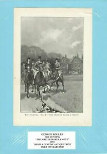 Genuine Antique Print 1894 Fox Hunting, The Master Makes a Move by George Roller
