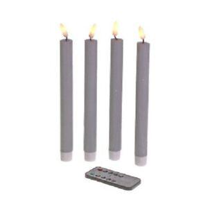 LED-Stabkerze 4er Set Fernbedienung Timer dimmbar Echtwachs 24,5 cm Grau NEU!