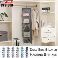 Tidy Hanging Handbag Organizer 5 Pocket Shelf Bag Storage Holder Wardrobe Closet