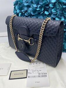 NEW Gucci 449635 Midnight Blue Micro GG Guccissima Leather Emily Bag, Handbag