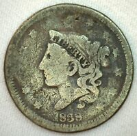 1838 Coronet Head US One Cent Penny Coin 1c US Type Coin You Grade Large Cent