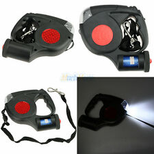 5M 3 LED Dog Traction Rope Automatic Retractable Leash w/ Garbage Bag Black USA