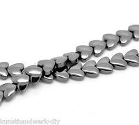 KUS 1Strang Schwarz Herz Magnetperlen Hämatit Spacer Metallperlen Beads 9x8mm