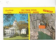 """*Vermont Postcard-""""GREETINGS...The Twin Cities"""" -/Montpelier-Barre/  (#381)"""