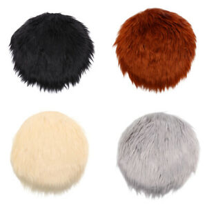 Solid Color Warm Wool Round Cushion Stool Pad Thickening Dining Chair CushioBDE