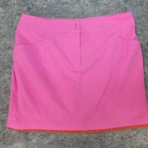 EP New York Women's Pink Orange Skort Pocket Front Zip Skirt Size 12