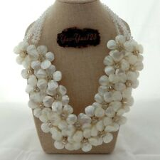 """18"""" White Shell Flower Crystal Statement Necklace"""