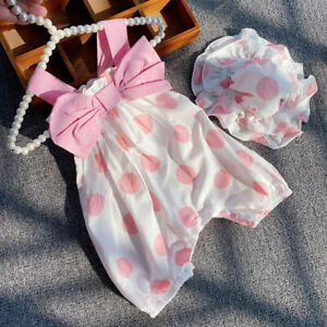 baby kids girls summer cute jummpers bodysuit+hat party photo shooting clothes