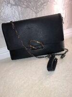 Black Clutch Bag With Shoulder Chain