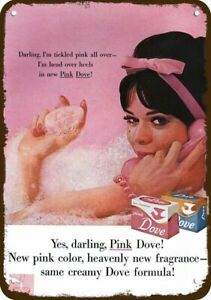 1962 SEXY WOMAN in DOVE PINK SOAP BUBBLE BATH Vintage Look REPLICA METAL SIGN