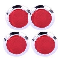 4X Rot Verchromt Auto Reflektierend Aufkleber Selbstklebend Runde Reflektor KFZ