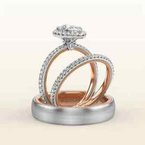 14K Two Tone Gold FN 2 CT Diamond His-Her Trio Ring Set Engagement Wedding Band