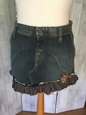 Replay Destressed Denim Mini Skirt With Frill & Butterfly Detail Sz10/38