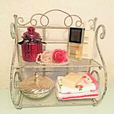 Shabby Chic Shelf Unit Vintage Metal Storage Rustic Bathroom Cabinet Storage