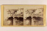 Francia Travaux Cantiere Foto Mack Saint-Cloud Stereo Vintage Albumina c1870