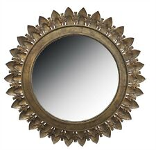 METAL LEAF MEDALLION MIRROR WITH ANTIQUE GOLD FINISH By SPLIT P/LARGE WALL MIRRO