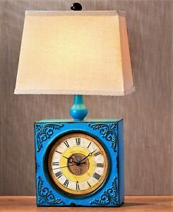 Vintage Style Blue Metal Clock Base 1-Light Table Lamp Two-in-One 60-Watt
