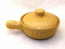 Vintage Small Stoneware Yellow Ware Over And Back Covered Dish With Handle