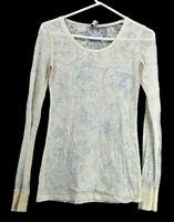 BKE Women's Medium Long Sleeve Sheer See Through Paisley Light T-Shirt Ivory