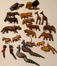 Carved Wooden Animal/Birds/Fish  Ornaments. 22ct