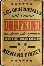 """Metallschild Blechschild """" DORFKIND """" Bar Werkstatt Wand Deko Vintage Retro NEU"""