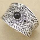 Victorian Ethnic Mayan Calendar Gypsy Black Stone Concho Bracelet Bangle Cuff H6