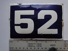 VINTAGE Enameled Porcelain Tin Sign House-Door Number 52 -5.7 inch/3.8 inch К3