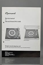Garrard Model SP25 Mk III Single Record Playing Unit Service Manual