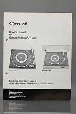 Garrard Model SP25 Mk III Single Record Playing Unit Service Manual