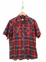 Vintage Wrangler Pearl Snap Shirt Men Large Red Blue Plaid Short Sleeve Western