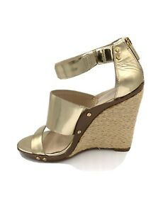 KORS MICHAEL KORS Gold Tan Leather Strappy Straw Wedge Sandals US 6 UK 4