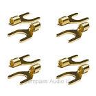 4 Gold Spade Terminal Connectors for Speaker Cable Crimp or Solder 8mm Fork
