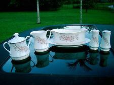 kensington fine china ivory rose CREAMER, SUGAR, GRAVY BOAT, SALT & PEPPER