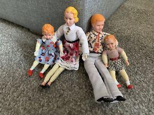 Vintage Posable Dollhouse Miniature German CACO Family- Mom Dad Boy & Girl NICE