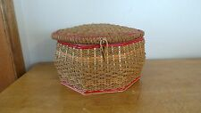 Vintage Woven Wicker Sewing Basket  USB Made in Germany
