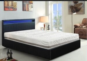 PU Gas lift storage Bed with Multi Colour LED light headboard Queen Black /White