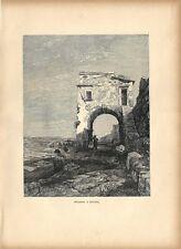 Stampa antica SAVONA persone ed arco sulla spiaggia 1885 Antique print
